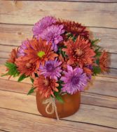 Autumn Mums Mini Mason Jar