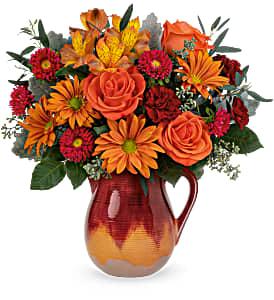 Autumn Pitcher Bouquet Arrangement