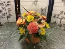 Autumn pumkin with lid Fall arrangement