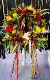 Autumn Reflections Standing Sympathy Wreath
