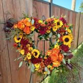 Autumn Remembrance Open Heart Standing Wreath