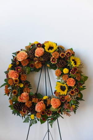 Autumn Remembrance Standing Wreath in La Grande, OR | FITZGERALD FLOWERS
