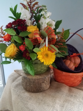 Autumn Spice Basket Fresh Arrangement