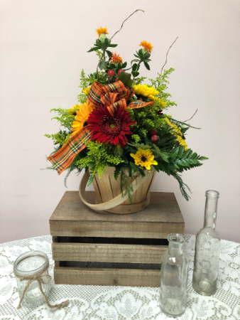Autumn Spice Basket Fall Arrangement