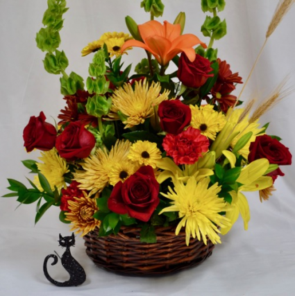 Autumn sun fall mix in a basket in coral springs fl hearts autumn sun fall mix in a basket mightylinksfo