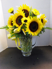 """ Sunny Day"" bouquet SunFlower Arrangement in a pitcher"