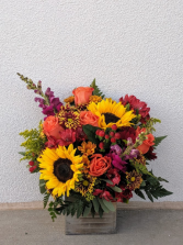 Autumn sunburst Wooden box fall arrangement