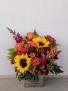 Autumn sunburst Wooden box fall arrangement