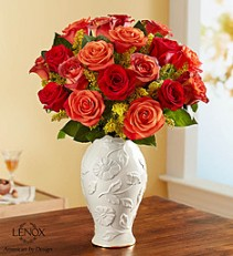 "Autumn Sunset: 12 or 18 roses In Lenox® Porcelain Vase ""Poppies"""