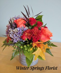 Autumn Sunset  Tin Bucket Design  in Winter Springs, FL   WINTER SPRINGS FLORIST AND GIFTS