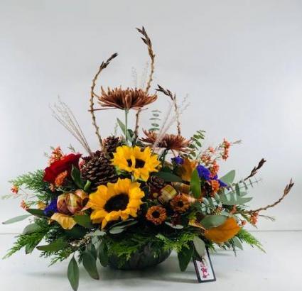 Autumn to Remember Centerpiece Container Arrangement