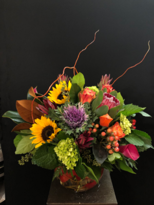 Autumn tropical twist Bubble bowl in Chesterfield, MO | ZENGEL FLOWERS AND GIFTS