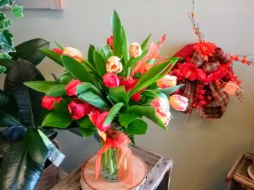 Autumn Tulips Fall Arrangement