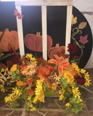 Autumn Window Planter  in Milton, FL | PURPLE TULIP FLORIST INC.