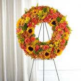 Autumnal Memories Wreath Sympathy Arrangement