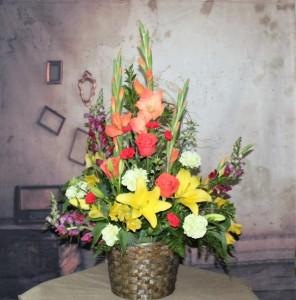 Autumn's Bliss Floor Basket in Stevensville, MT | WildWind Floral Design Studio