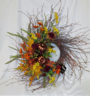 Autumn's Bounty Wreath Permanent Arrangement by Inspirations Floral Studio in Lock Haven, PA | INSPIRATIONS FLORAL STUDIO