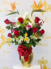 Ave with mix roses Gold glass bouquet
