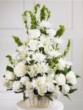 HEARTFELT TRIBUTE All white sympathy arrangement