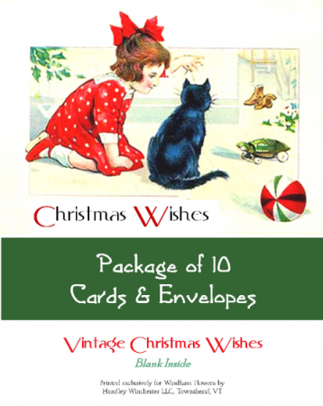"""Holiday Card Set Pack of 10 Cards """"Christmas Wishes""""  Blank Inside"""