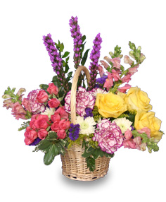 Garden Revival Basket of Flowers in Riverside, CA | Willow Branch Florist of Riverside