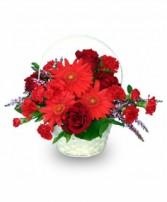 RED HOT ROMANCE Flower Basket