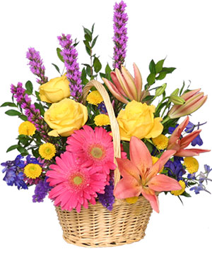 HAVE A SUNNY DAY! Flower Basket in Pleasanton, TX | LESLEY'S FLOWERS AND GIFTS