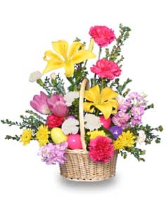EGG-CITING EASTER BASKET of Fresh Flowers in Indianapolis, IN | SHADELAND FLOWER SHOP