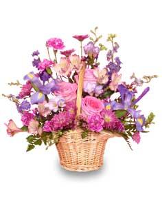 Mauve lous bouquet flower basket in osceola mills pa colonial mauve lous bouquet flower basket mightylinksfo