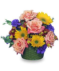 COTTAGE GARDEN FLOWERS Basket Arrangement