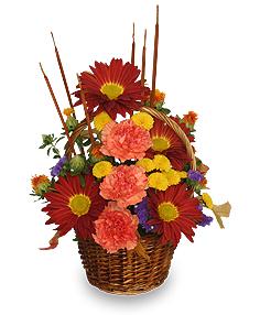 SIGNS OF FALL Basket of Flowers in Burbank, CA | LA BELLA FLOWER & GIFT SHOP
