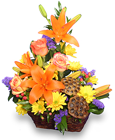 EXPRESSIONS OF FALL Flowers in a Basket in Ripley, TN | MONT'S FLOWERS & GIFTS