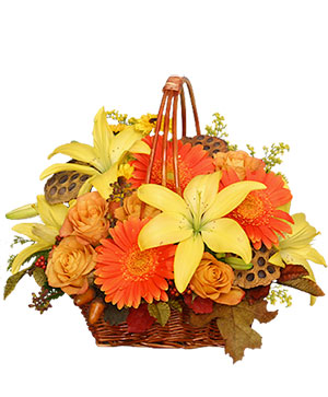 GOLDEN GRANDEUR Basket of Fall Flowers in East Templeton, MA | Valley Florist & Greenhouse