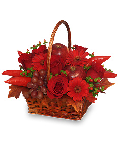 The Richness of Red Flower Basket in Winston Salem, NC | RAE'S NORTH POINT FLORIST INC.