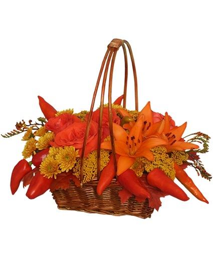 ORANGE OPULENCE Basket Bouquet