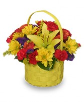 BRIGHT & SUNNY BASKET Floral Arrangement
