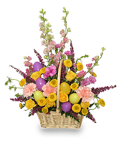 Easter Egg Hunt Spring Flower Basket in Rancho Cucamonga, CA | PICAZO'S FLOWER DESIGNS