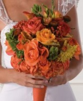 Orange Mille de Fleur Bridal Wedding Bouquet