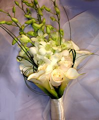 White Callas, Roses & Orchids Bridal Wedding Bouquet