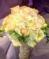 Ivory Roses, Hydrangea & Callas Bridal Wedding Bouquet