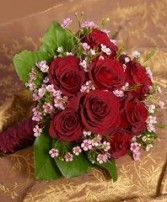 Deep Red Roses & Pink Waxflowers Bridal Wedding Bouquet
