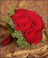 Lush Red Rosy Posy Bridal Wedding Bouquet
