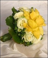 Yellow Callas & Ivory Roses Bridal Wedding Bouquet