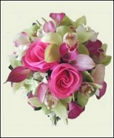 Pink Roses, Callas, Cymbidiums Bridal Wedding Bouquet