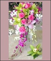 Cymbidium & Dendrobium Orchid Cascading Wedding Bouquet