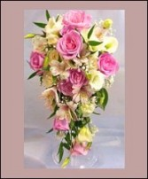 Soft Pink & Ivory Cascade Bridal Wedding Bouquet