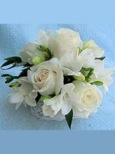 Roses & Freesia Corsage Wedding Party Flowers