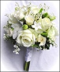 All White Floral Hand-tied Bridesmaid Bouquet