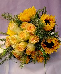 Yellow Roses & Sunflowers Bridesmaid Bouquet