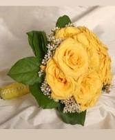 Lush Yellow Rose Nosegay Bridesmaid Bouquet